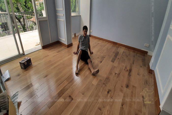 Sàn gỗ Plywood Sồi thi công tại Quận 7