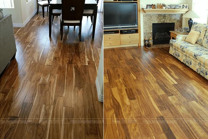 Sau khi sơn UV thì sàn gỗ tràm rất bóng và mịn