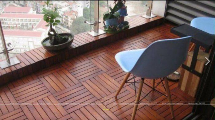Sàn gỗ ban công được làm từ gỗ Tràm