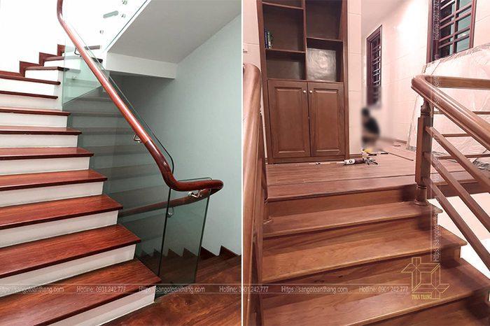Những mẫu tay vịn kính hoặc gỗ căm xe tùy theo phong cách nội thất của từng nhà