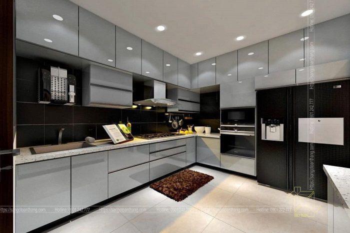 Hệ tủ bếp sử dụng gỗ công nghiệp An Cường phủ Acrylic