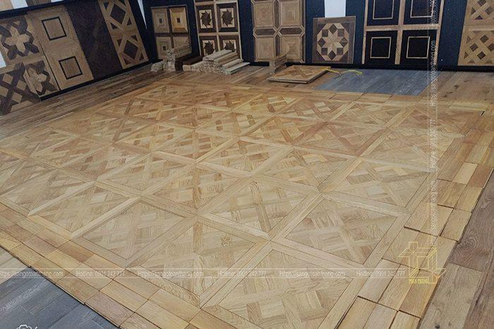 Sàn gỗ Sồi tự nhiên lát kiểu hoa văn