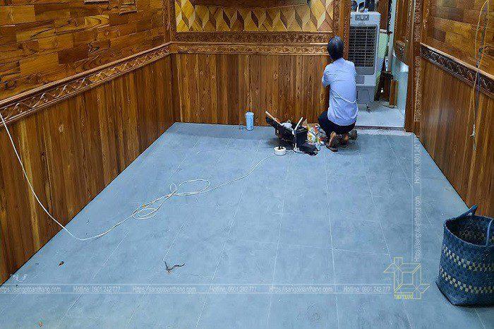 Công trình ốp tường gỗ tự nhiên Teak Lào