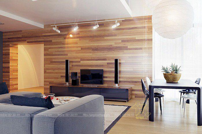 Công trình ốp tường nhiều chủng loại gỗ để tạo điểm nhấn