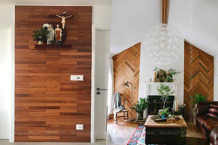 Ốp tường gỗ Gõ đỏ làm chi ngôi nhà thêm phần sang trọng