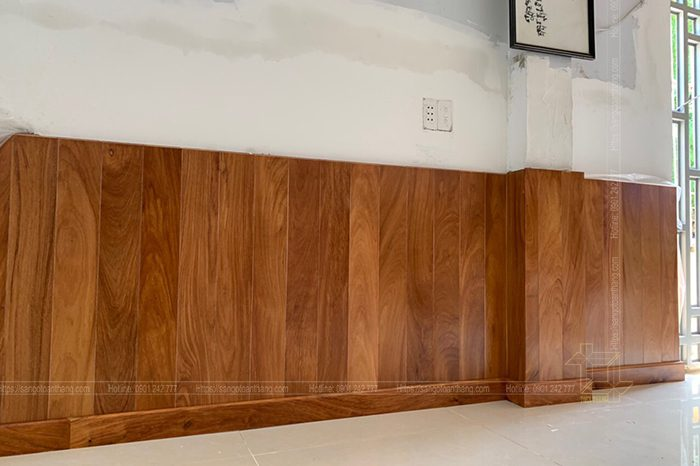 Công trình ốp tường gỗ tự nhiên Căm xe Gò Vấp