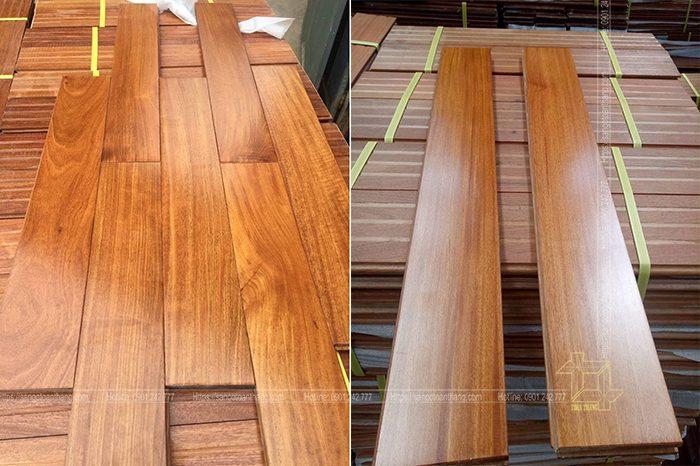 Sàn gỗ Căm xe sau khi được sơn hoàn thiện tại nhà máy