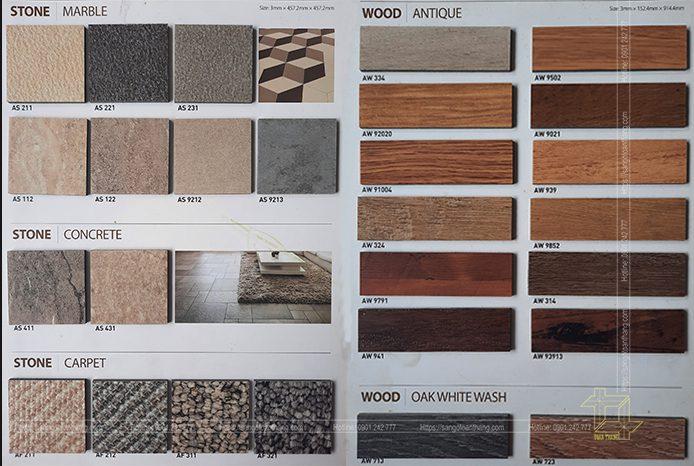 Sàn nhựa Arize màu sắc đa dạng, có đầy đủ kiểu vân
