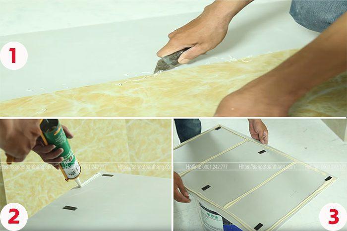 Quá trình cắt chia tấm nhựa PVC theo hình dánh cần thi công