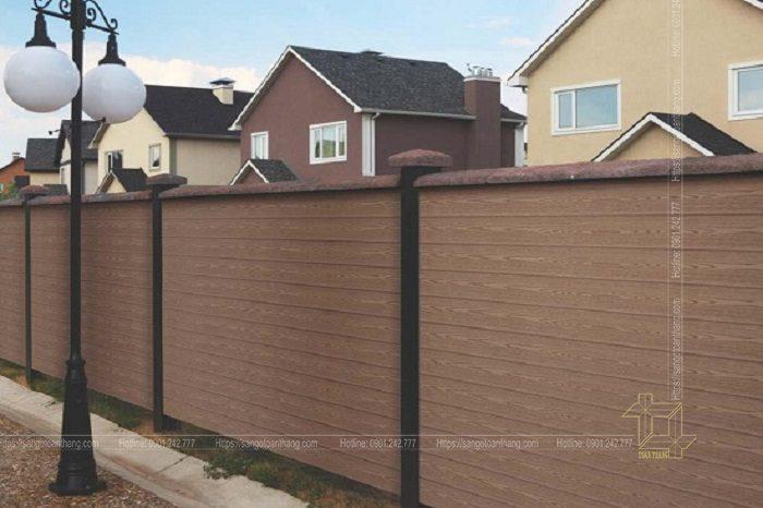 Tấm gỗ nhựa ốp tường ngoài trời dùng trong việc trang trí hàng rào