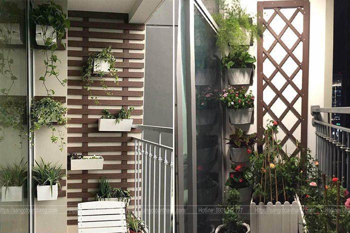 Tấm gỗ nhựa ốp tường ngoài trời sử dụng làm thang leo trang trí ban công