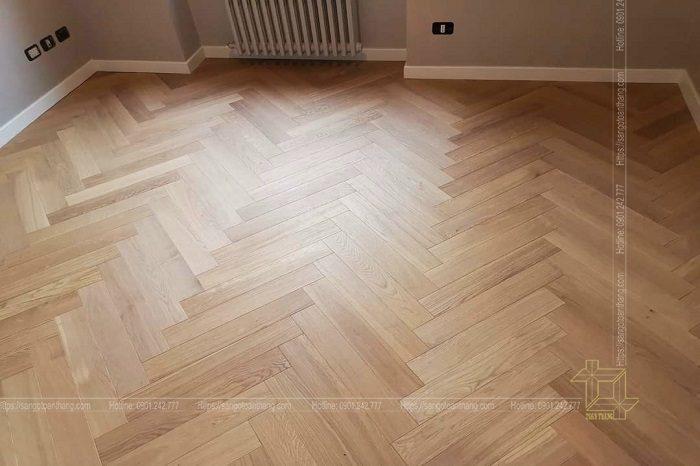 Sàn gỗ Sồi lát kiểu xương cá