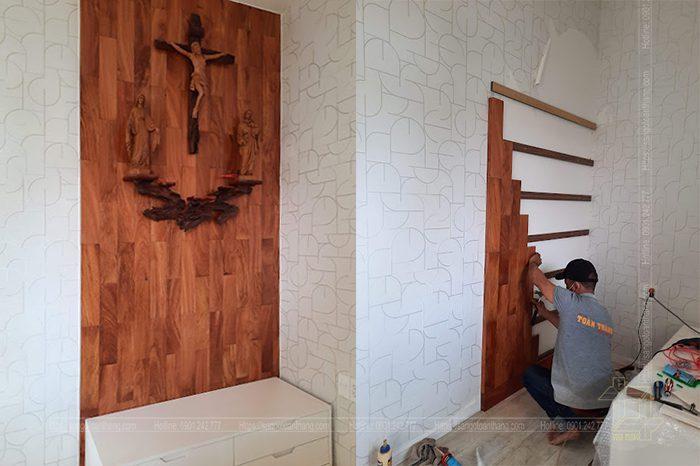 Các phòng thờ dùng gỗ tự nhiên ốp rất ấm cúng