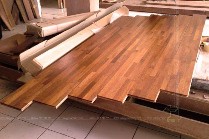 Sàn gỗ Căm xe ghép vẫn giữ nguyên được giá trị sàn gỗ tự nhiên