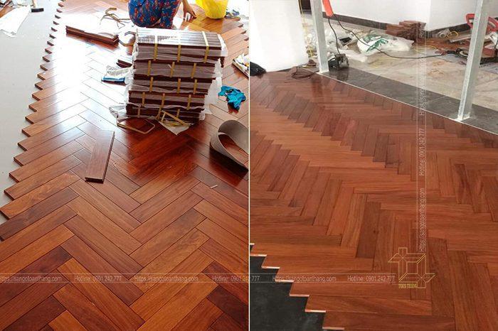 Bảo quản sàn gỗ căm xe xương cá sau khi lát