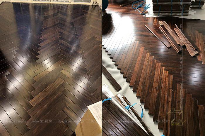 Chọn hướng lắp đặt là điều hết sức quan trọng của việc thi công lắp đặt sàn gỗ xương cá