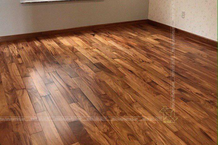 Thi công Sàn gỗ Gõ đỏ tại Ngã 4 Hòa Lân