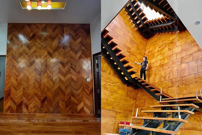 Sàn gỗ Gõ đỏ Lào dùng trong ốp tường