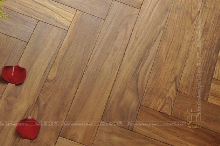 Sàn gỗ Teak xương cá rất đẹp mắt
