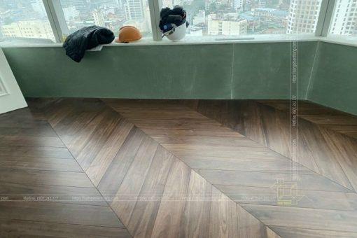 Sàn gỗ xương cá tự nhiên gỗ Óc chó