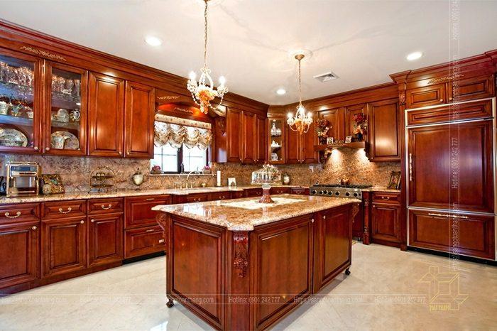 Tủ bếp làm từ gỗ Căm xe