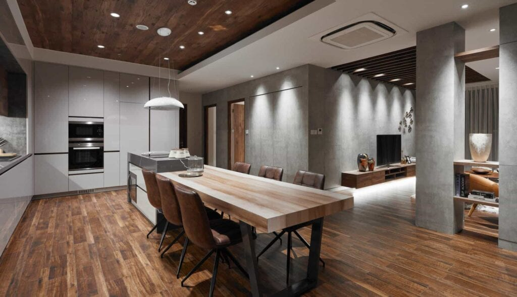 Sàn gỗ công nghiệp An cường lát ở khu vực nhà bếp