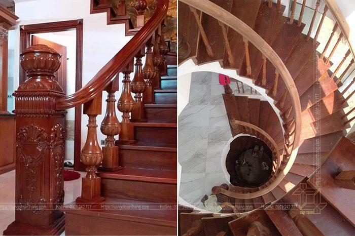 Cầu thang gỗ gõ đỏ rất hiện đại