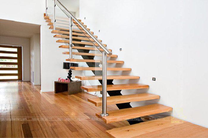 Cầu thang gỗ Sồi hiện đại không gian mở