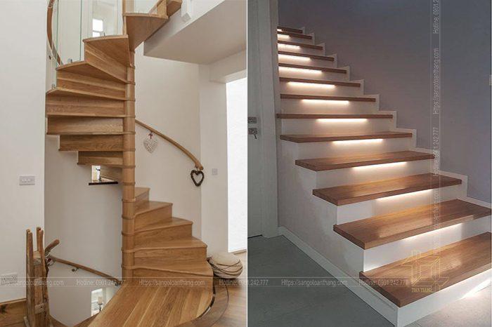 Cầu thang gỗ Sồi Mỹ đã đi vào hoàn thiện và gia trả mặt bằng
