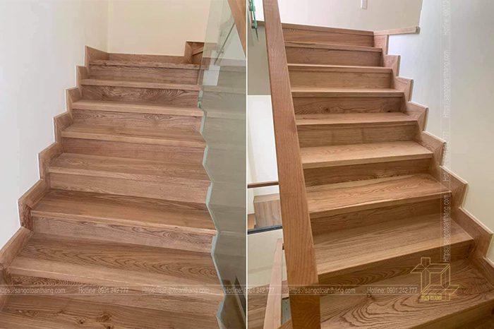 Cầu thang gỗ Sồi ứng dụng nội thất theo kiểu cổ điển