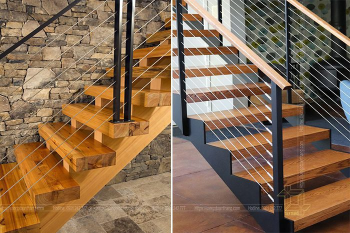 Cầu thang gỗ thông nên làm gỗ có độ dày để hạn chế cong vênh