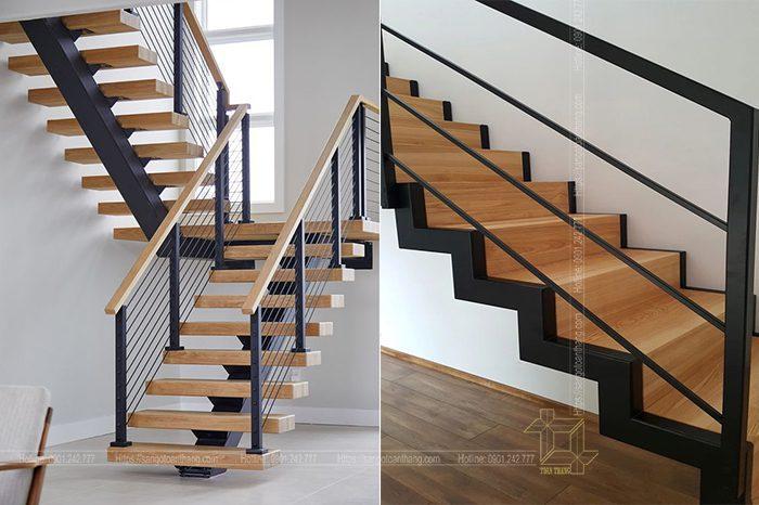 Cầu thang gỗ kết hợp sắt thì ngày nay đi đâu cũng bắt gặp