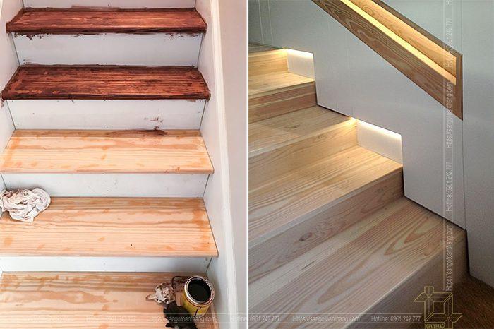 Cầu thang gỗ Thông giá thành khá dễ chịu cho người sử dụng