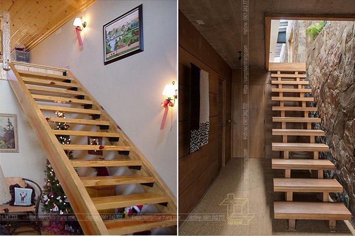 Cầu thang gỗ Thông sau khi hoàn thiện bàn giao mặt bằng