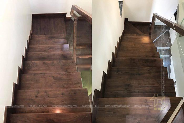 Cầu thang gỗ Óc Chó kết hợp với kinh cường lực tạo nên vẽ đẹp hiện đại