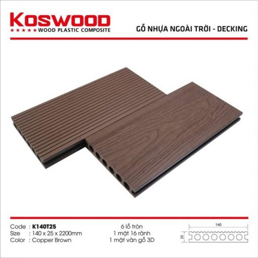 go nhua koswood copper brown 6 lo tron s1169