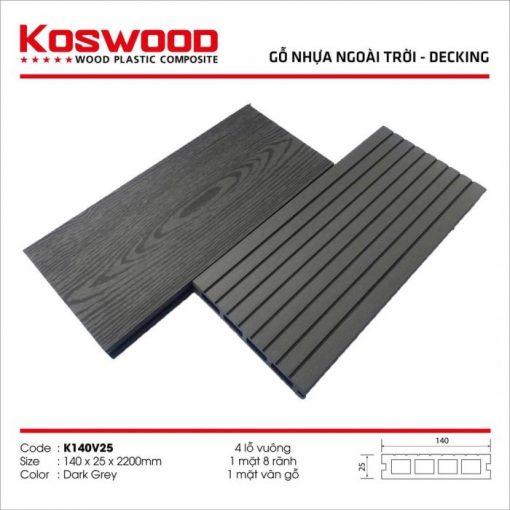 go nhua koswood dark grey 4 lo vuong s1174