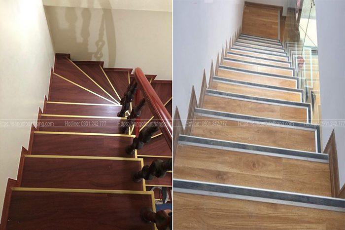 Cầu thang gỗ công nghiệp hoàn thiện thì độ thẩm mỹ không kém gì gỗ tự nhiên