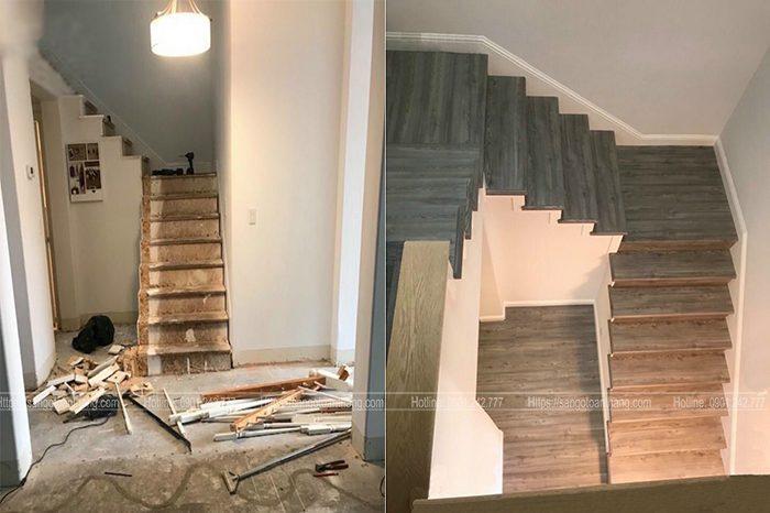 Điểm khác biệt có thể thấy trước và sau khi thi công cầu thang gỗ