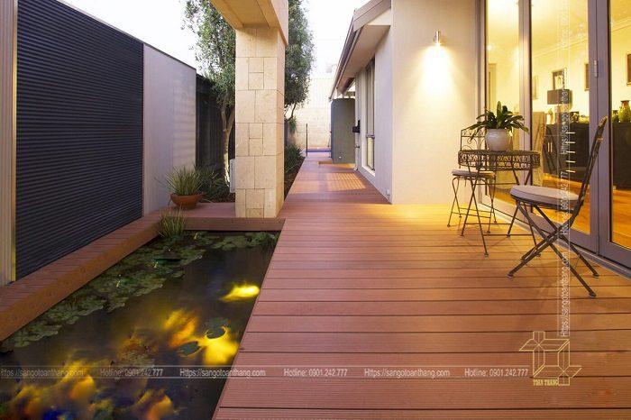Sàn gỗ nhựa ngoài trời ứng dụng lát sân vườn khá đẹp