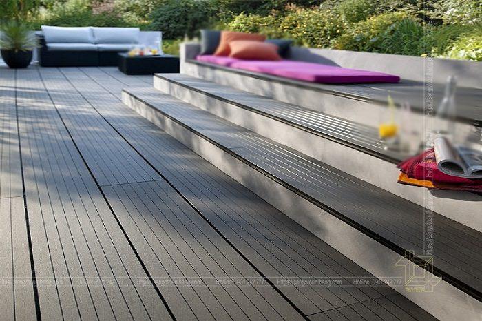 Sàn gỗ nhựa ngoài trời là vật liệu khá bền bỉ, chịu đựng thời tiết khắc nghiệt