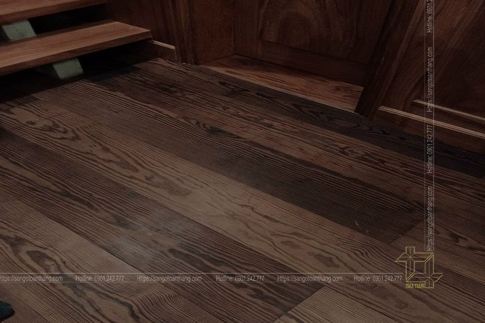 Sau khi sơn thì sàn gỗ Thông rất đẹp, sắc nét