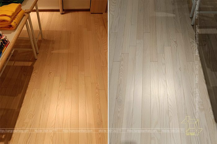 Ván sàn gỗ thông chuẩn bị trước khi sơn hoàn thiện
