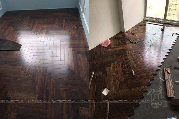 Sàn gỗ Chiu liu lát xương cá