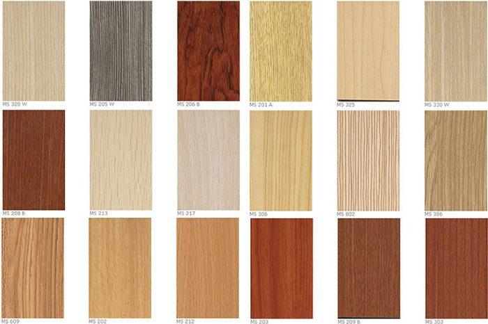 Bảng màu rất phong phú được phủ lên cốt gỗ HDF