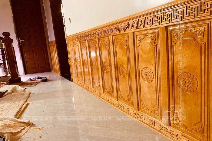 Ốp tường gỗ Gõ đỏ hiện nay rất phổ biến trong các căn hộ cao cấp