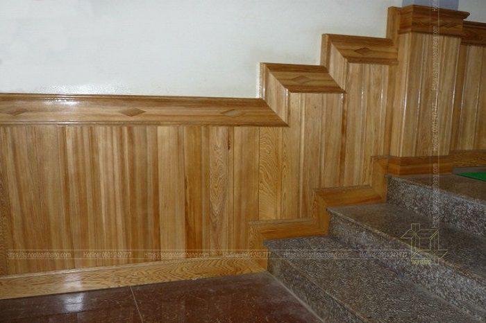 Sàn gỗ Sồi dùng để ốp vách Lamri