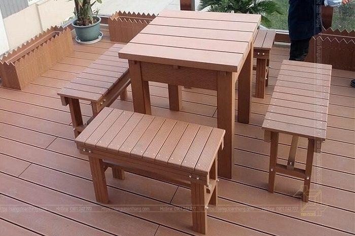Bộ bàn ghế gỗ nhựa ngoài trời mẫu 10