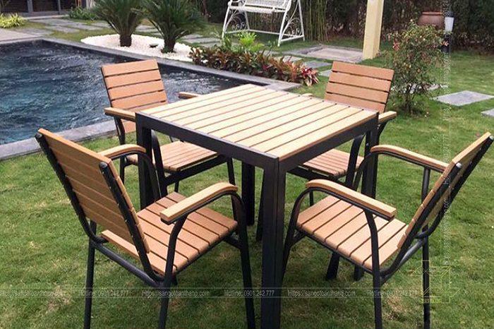 Bộ bàn ghế gỗ nhựa ngoài trời mẫu 08