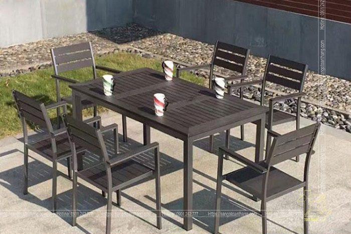 Bộ bàn ghế gỗ nhựa ngoài trời mẫu 07